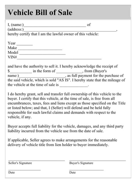 vehicle bill of sale form for excel pdf and word