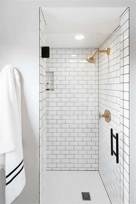 white subway tile walk in shower gold shower kit contemporary bathroom madison taylor