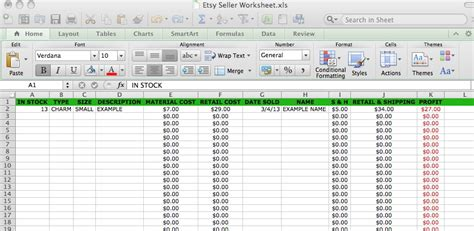 Etsy Spreadsheet by Etsy Sales Spreadsheet Seller Tools Craft Business Small