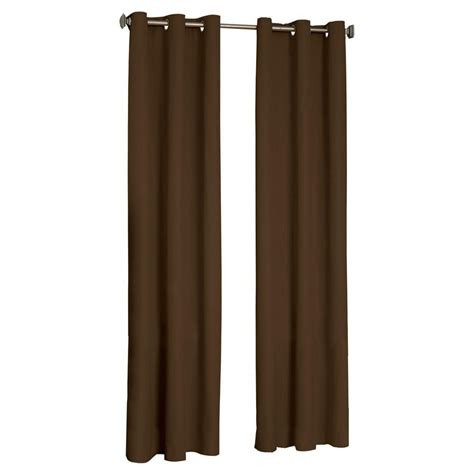 home depot blackout curtains eclipse microfiber blackout chocolate grommet curtain