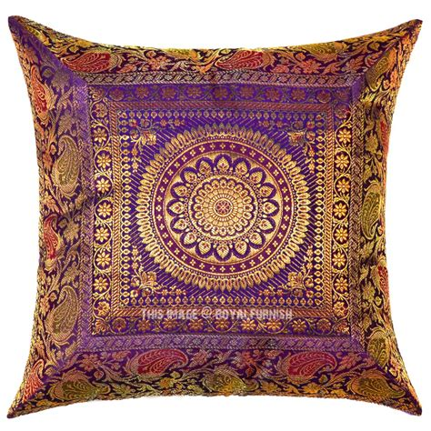 throw pillows on purple medallion circle decorative outdoor indoor silk