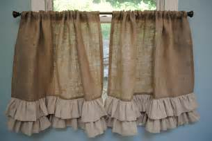 Kitchen Lace Curtains by Burlap Ruffled Cafe Curtain