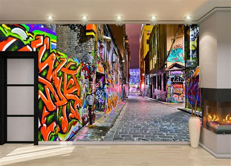 night view graffiti artwork wall mural photo wallpaper