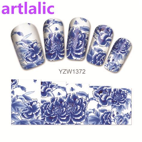 Nail Sticker Water Decal For Nail Stiker Kuku 24 1 sheet water transfer nail sticker decal blue and white porcelain 3d print design manicure