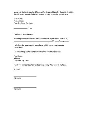 move out notice template move out letter fill printable fillable blank