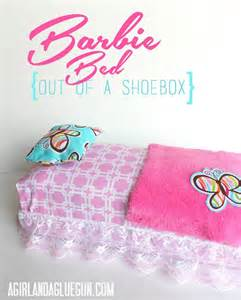 how to make a barbie bed shoe box crafts for kids a girl and a glue gun