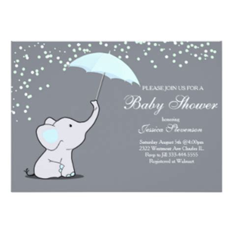 Holding A Baby Shower by Umbrella Elephant Invitations Announcements Zazzle