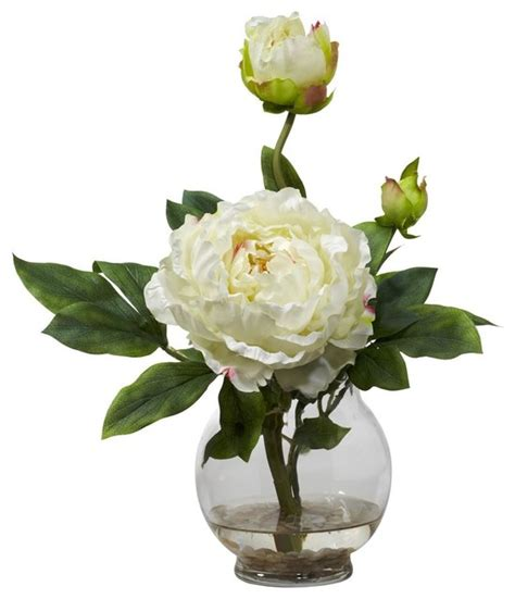 Artificial Peonies In Vase by Peony W Fluted Vase Silk Flower Arrangement