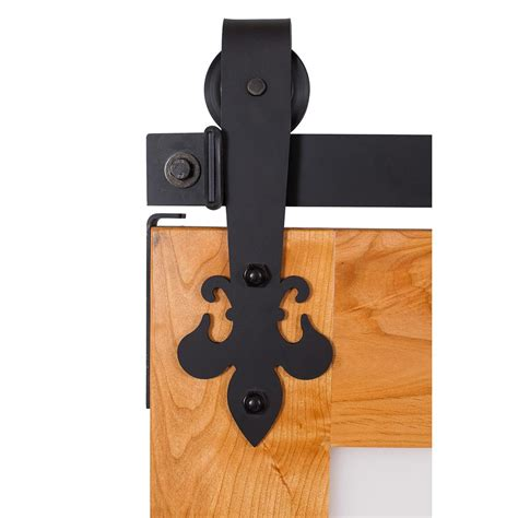 Fluer De Lis 7 Ft Track In Flat Black Barn Door Hardware Black Barn Door Hardware