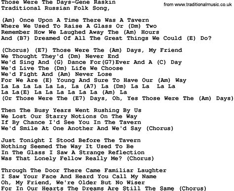 days are lyrics those were the days lyrics