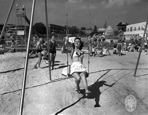swing swing swing 1941 carlin s park woman on swing set maryland historical
