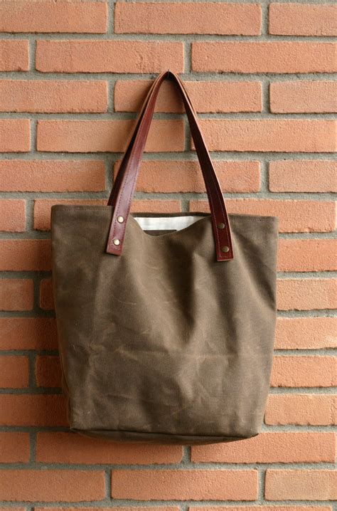 Handmade Bag - waxed canvas bag tote bag handmade waxed canvas tote