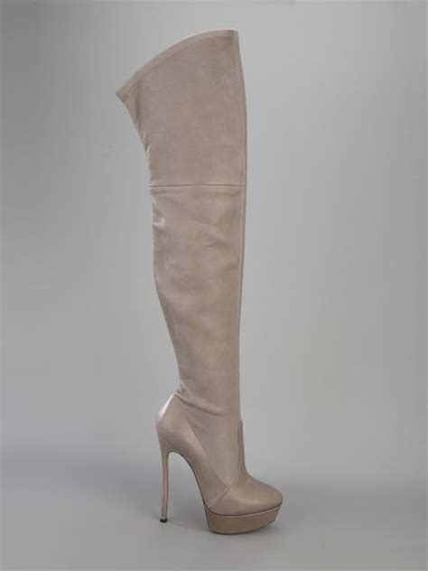 casadei thigh high stiletto boot in gray grey lyst