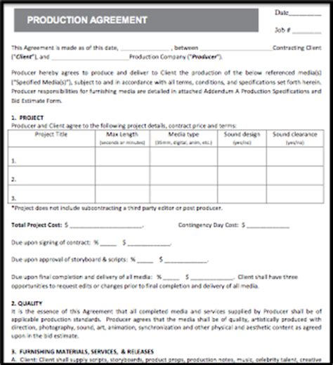 production contract template standard production contract nimia