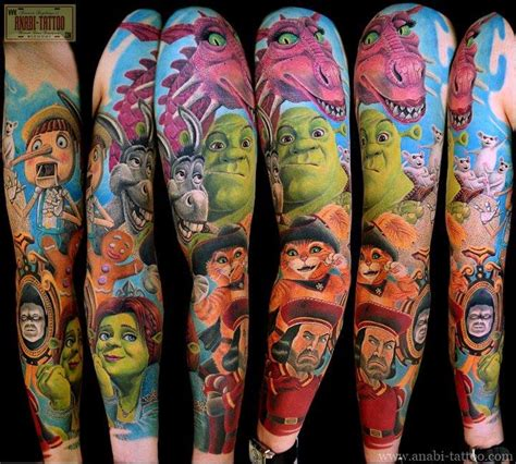 cartoon tattoo arm tattoos of animated characters cartoon shrek characters