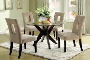 Dining Room Round Tables Sets Round Tempered Glass Top Dining Table Set For Small Spaces