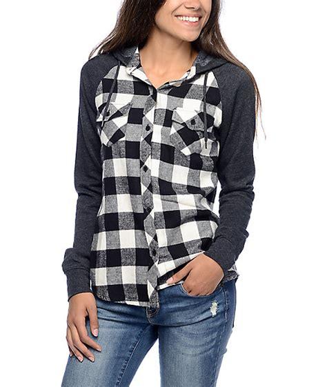 Flanel Black Big White checkered shirt black and white shirts rock