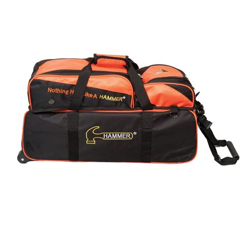 bowling bags hammer 3 roller tote black orange bowling bag with
