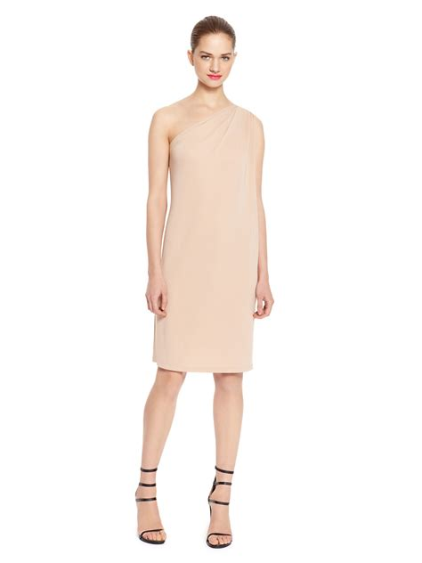 drape front dresses dkny one shoulder drape front dress in beige haze lyst