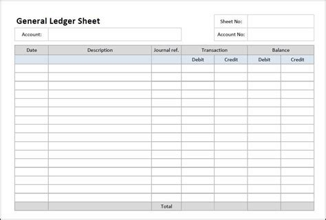 printable journal ledger sheets general ledger sheet template general ledger template