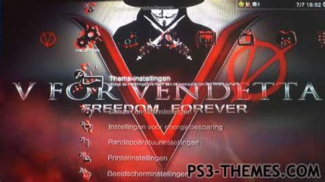 themes v for vendetta ps3 themes 187 v for vendetta dynamic theme