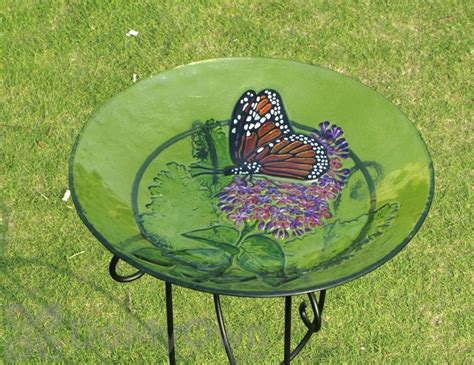evergreen enterprises monarch lilac glass bird bath with