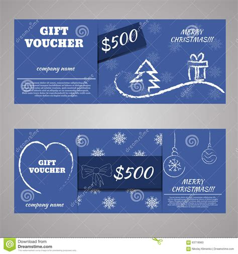 blue christmas   year gift voucher certificate coupon stock vector image