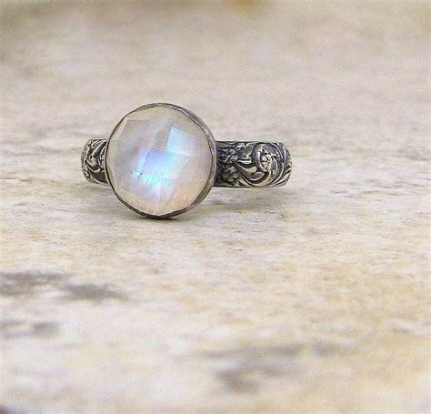 Moonstone Ring moonstone silver ring rainbow moonstone ring engagement ring
