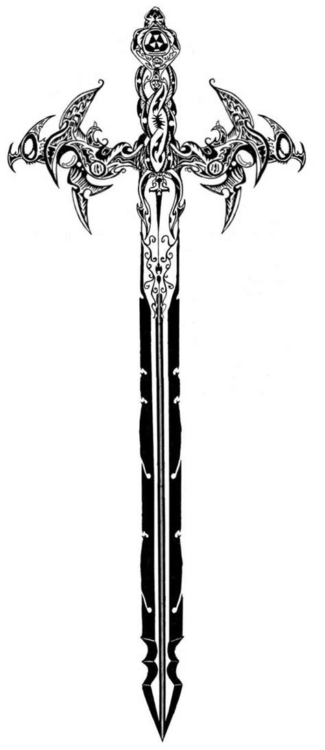 celtic sword tattoo tribal sword designs wings commission by