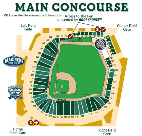seattle mariners map where to eat at safeco field concourse seattle