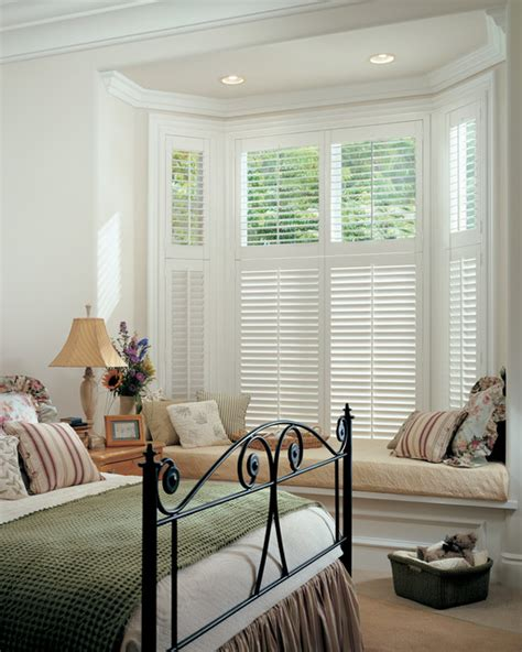 window coverings bay window master bedroom window treatments white composite shutters