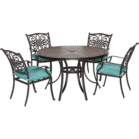 Patio Dining Set Cover Hanover Traditions 5 Aluminum Outdoor Dining Set With Protective Cover And Blue