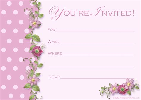 template for birthday invitation free free pink polka dot invitations printable kits
