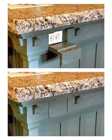 kitchen island electrical outlet keep electrical outlets out of sight on your kitchen island with a flip drawer