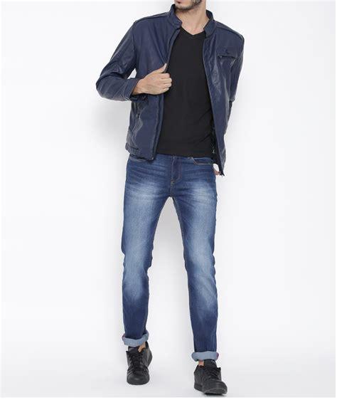 Fashion Navy s fashion navy blue biker slimfit leather jacket blue