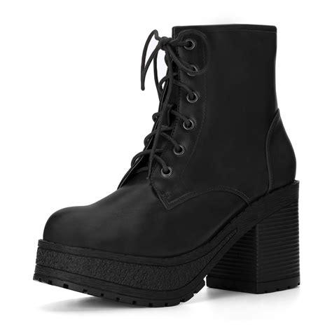 Platform Chunky Heel Boots lace up boots with chunky heel ha heel