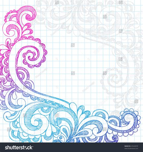 printable paper edge designs handdrawn abstract flower paisley sketchy notebook stock