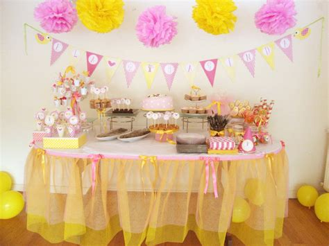 Pink And Yellow Birthday Decorations by Pink And Yellow Birdie Birthday Ideas Photo