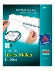 index maker clear label dividers with white tabs 11417 8