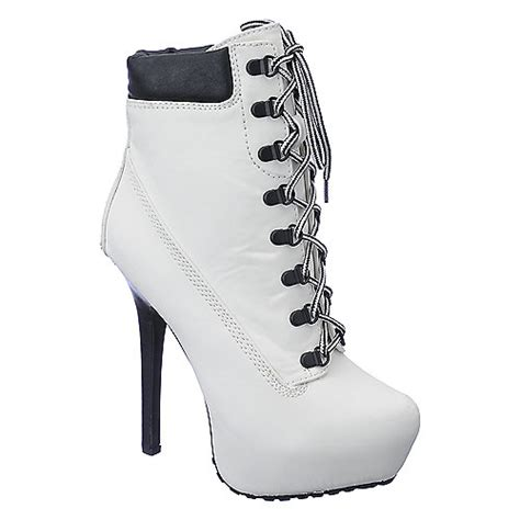 white high heel ankle boots dollhouse womens tyrant white platform high heel ankle
