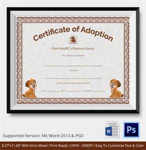 free puppy birth certificate template adoption certificate template 12 free pdf psd format