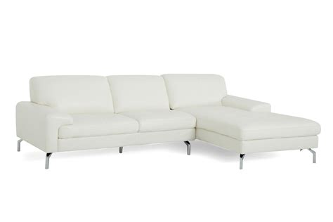 Sectional Sofa W Chaise Tansy Modern White Leather Sectional Sofa W Chaise