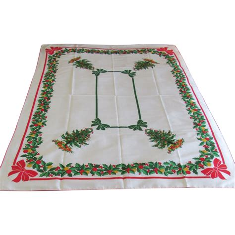 vintage christmas tree linen tablecloth from