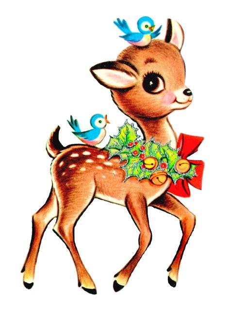 printable christmas deer vintage christmas reindeer clipart clipart suggest