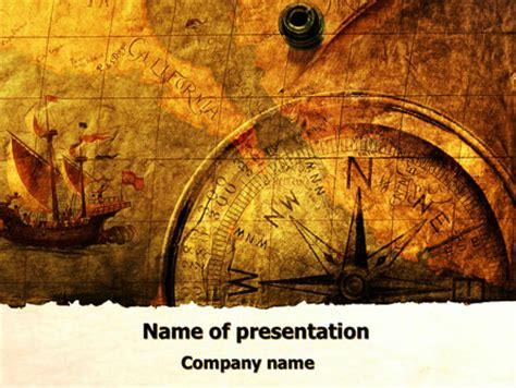 Ancient Map With Compass Presentation Template For Powerpoint And Keynote Ppt Star World History Powerpoint Templates