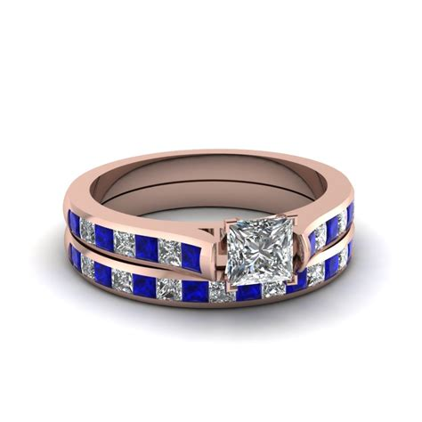 Blue Sapphire 14 30 Ct princess cut channel set wedding ring sets with