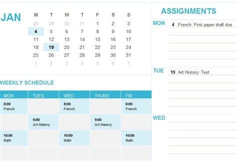 Student Calendar Template student calendar template