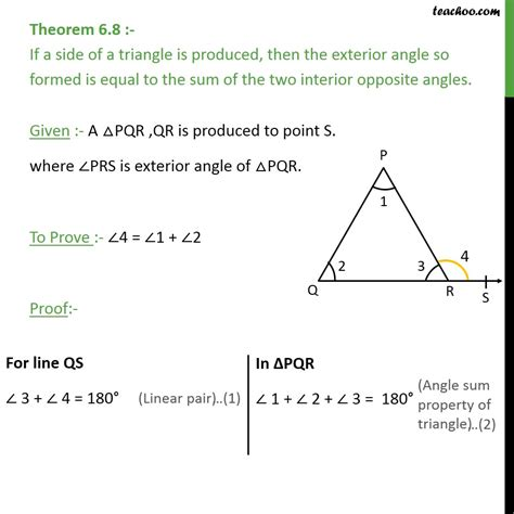 Find The Sum Of The Interior Angles Of An Octagon by Theorem 6 8 Exterior Angle Is Equal To Sum Interior