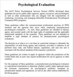 Psychological Evaluation Sample Report Psychological Evaluation Template 7 Free Download Free