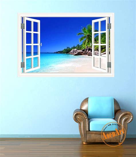 seaside wall stickers summer coconut tree 3d wall sticker seaside landscape removable wallpaper 3d window view